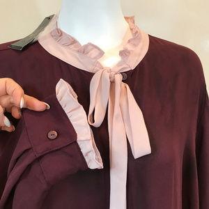 New Worthington Maroon Bow tie Blouse